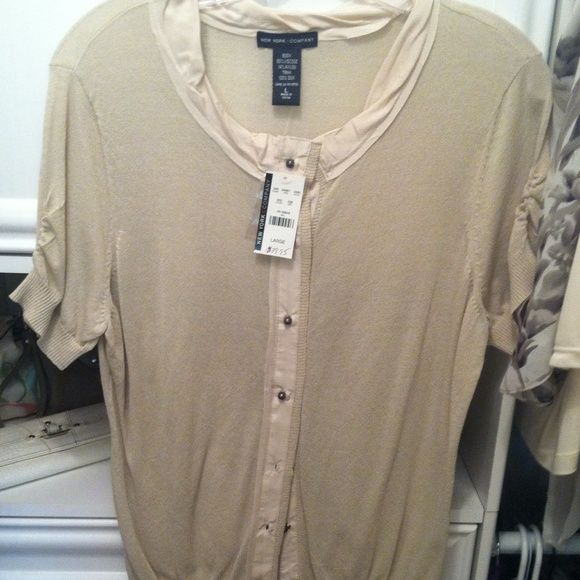 NWT New York & Company Sweater Lightweight New York & Company khaki color sweater. New with tags!!! So cute for work or just casual with jeans and flats!!! New York & Company Sweaters