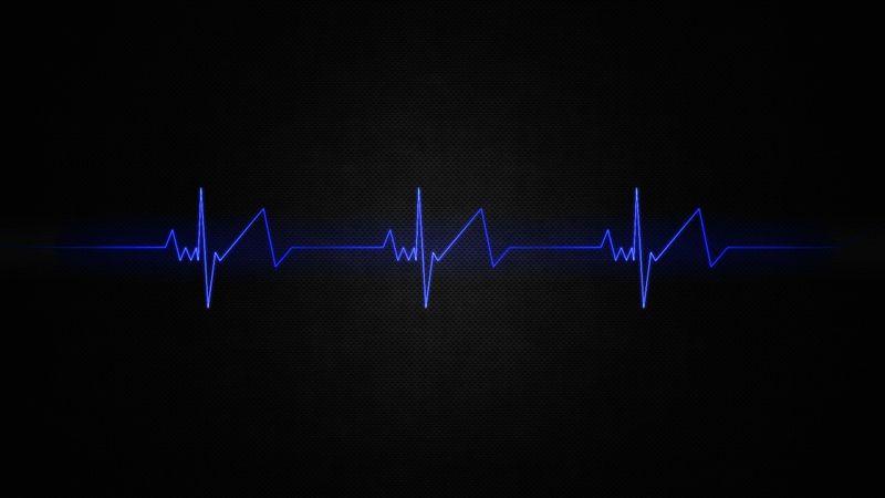 Stylized Heartbeat Beats Wallpaper Blue Abstract Desktop Wallpaper Pattern