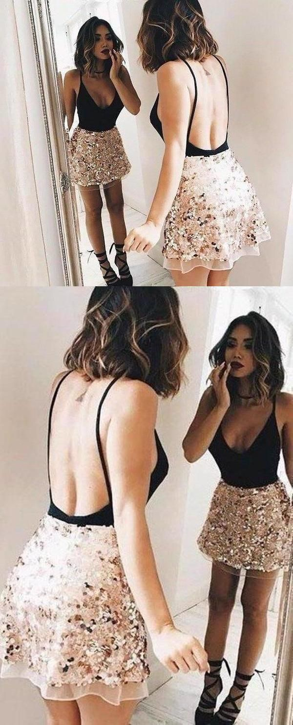 Sexy Black Backless V Neck Cheap Homecoming Dresses Cocktail Party Dress