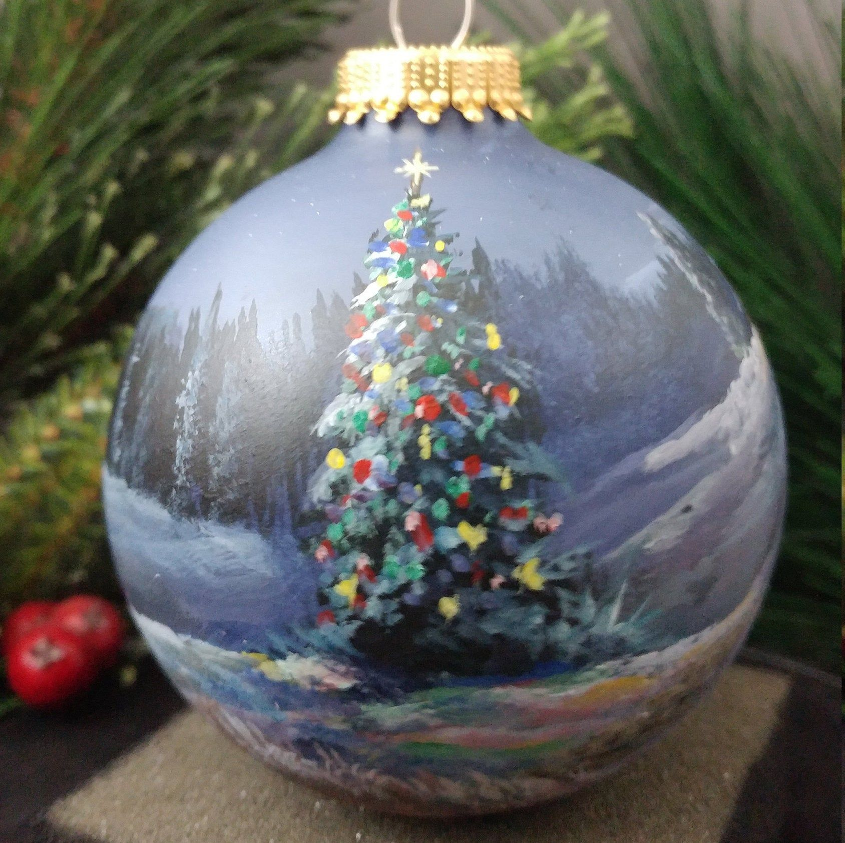 Hand Painted Glass Christmas Ornament Etsy Handpainted Christmas Ornaments Painted Christmas Ornaments Christmas Ornament Crafts