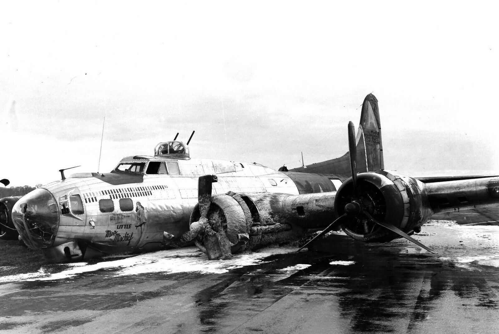 B17 after crash landing in England. History WW2