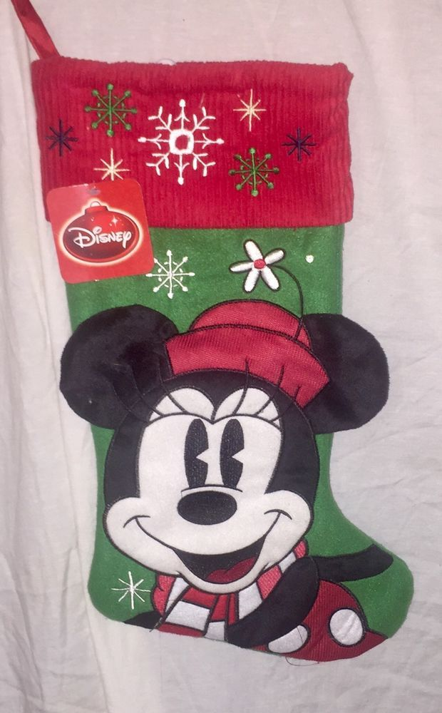 "New Disney Minnie Mouse Christmas Stocking 19"" 3-D Embroidered Authentic #Disney"