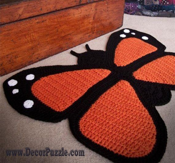Fashionable Bathroom Rug Sets And Bath Mats 2015 Crochet Butterfly Butterfly Rug Crochet Crafts