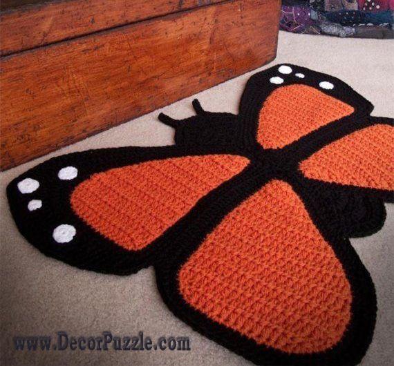 Marvelous Butterfly Bathroom Rug Sets And Bath Mats 2015   Black And Orange Bathroom  Rugs