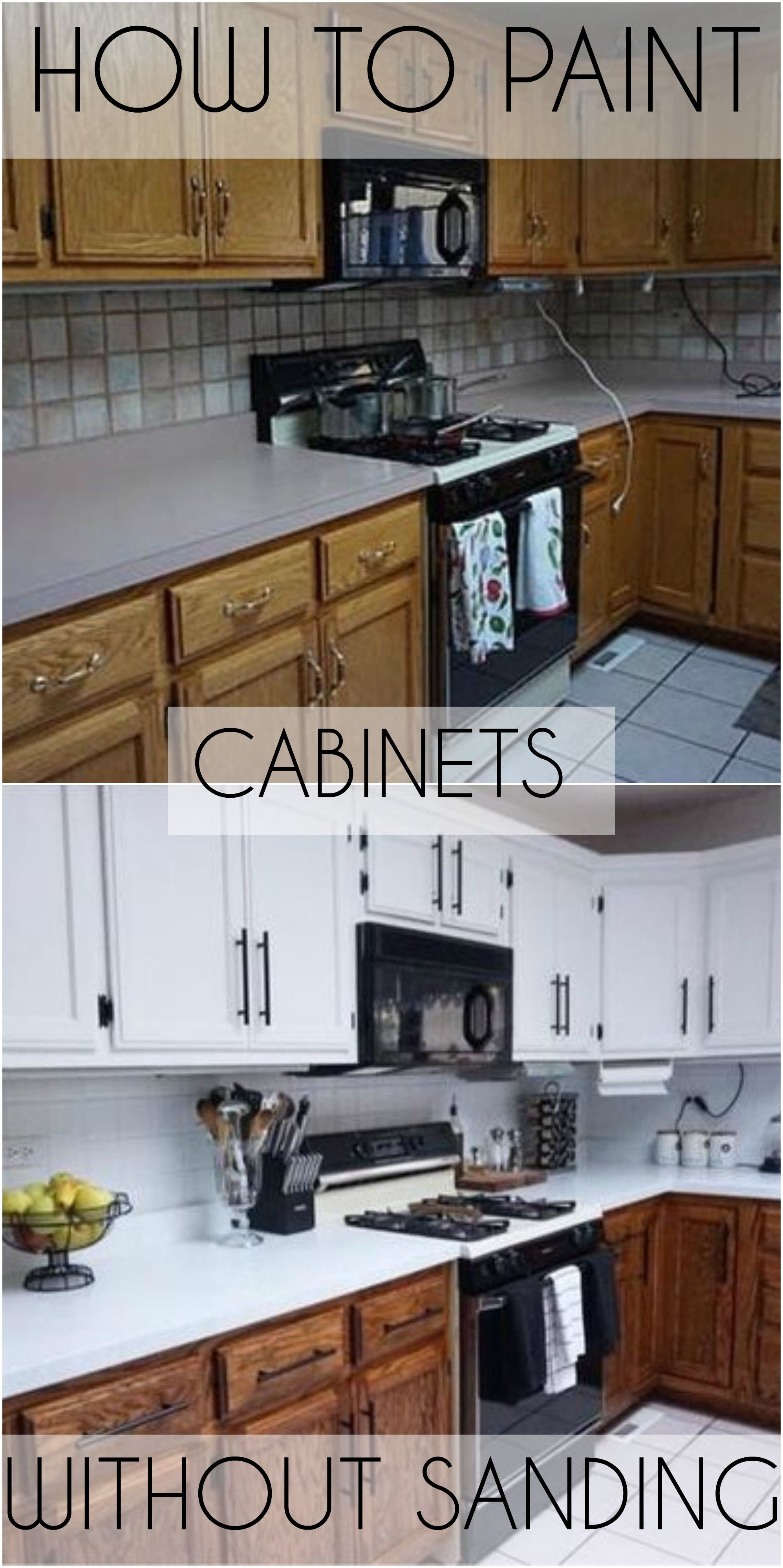 How I Painted My Cabinets Without Sanding Video Painting Kitchen Cabinets White Stained Kitchen Cabinets New Kitchen Cabinets