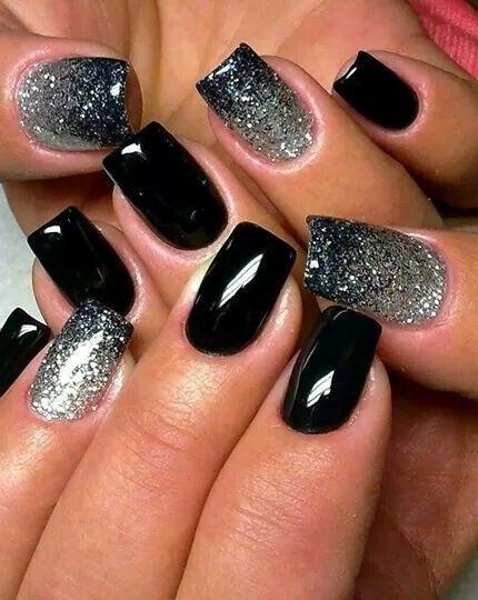 Unghie Color Nero E Argento Unghie Unghie Idee Unghie Colorate