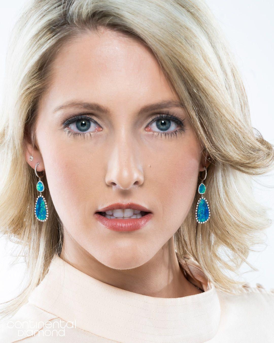 14kt White Gold Huggie Double Diamond Halo Drop Earrings With Opals At Continental Diamond Continenetaldiamond Mpls Mn Stlouispark In 2020 Opal Earrings Earrings