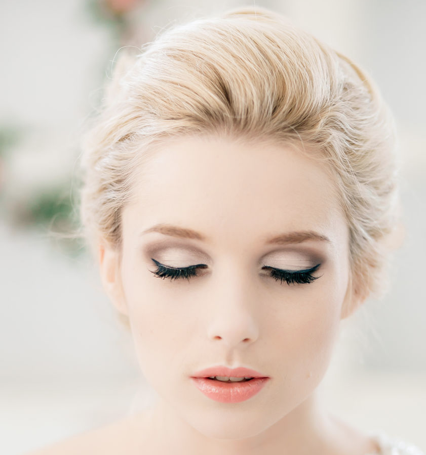 Coral lips, great eyeliner // Classy and Timeless Wedding Hairstyles from Elstile Love the makeup