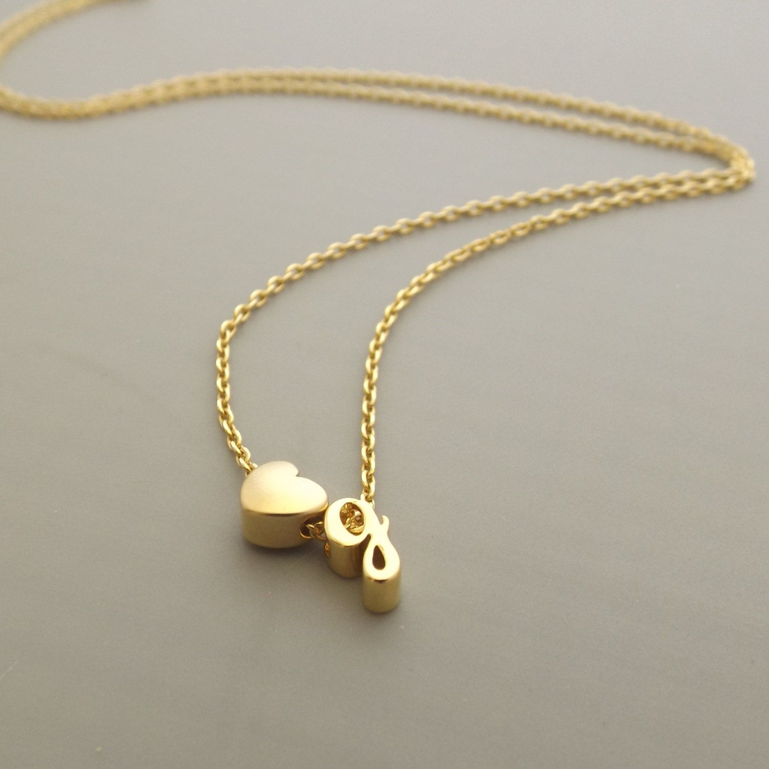 gold plated minimalist initial and heart necklace dainty letter