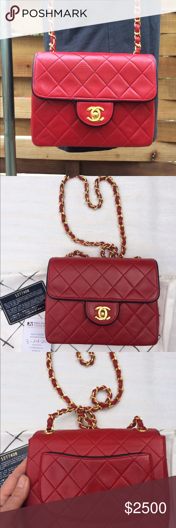 1b1467e0f34cc9 **Open to trade** Vintage Chanel Bicolor mini flap Rare bicolor Chanel mini  flap square. True red with navy trim / piping. 24 carat gold plated  hardware.