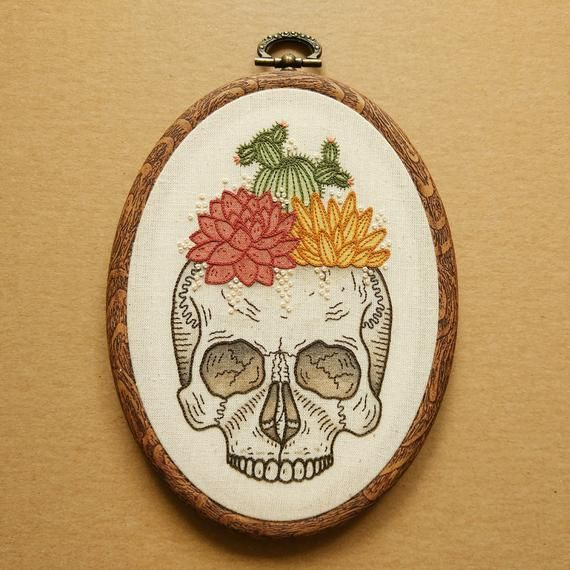 Patron PDF – Patron de broderie à la main Cactus et succulentes crâne planteur (motif de broderie à la main moderne PDF)   – Hoop Art