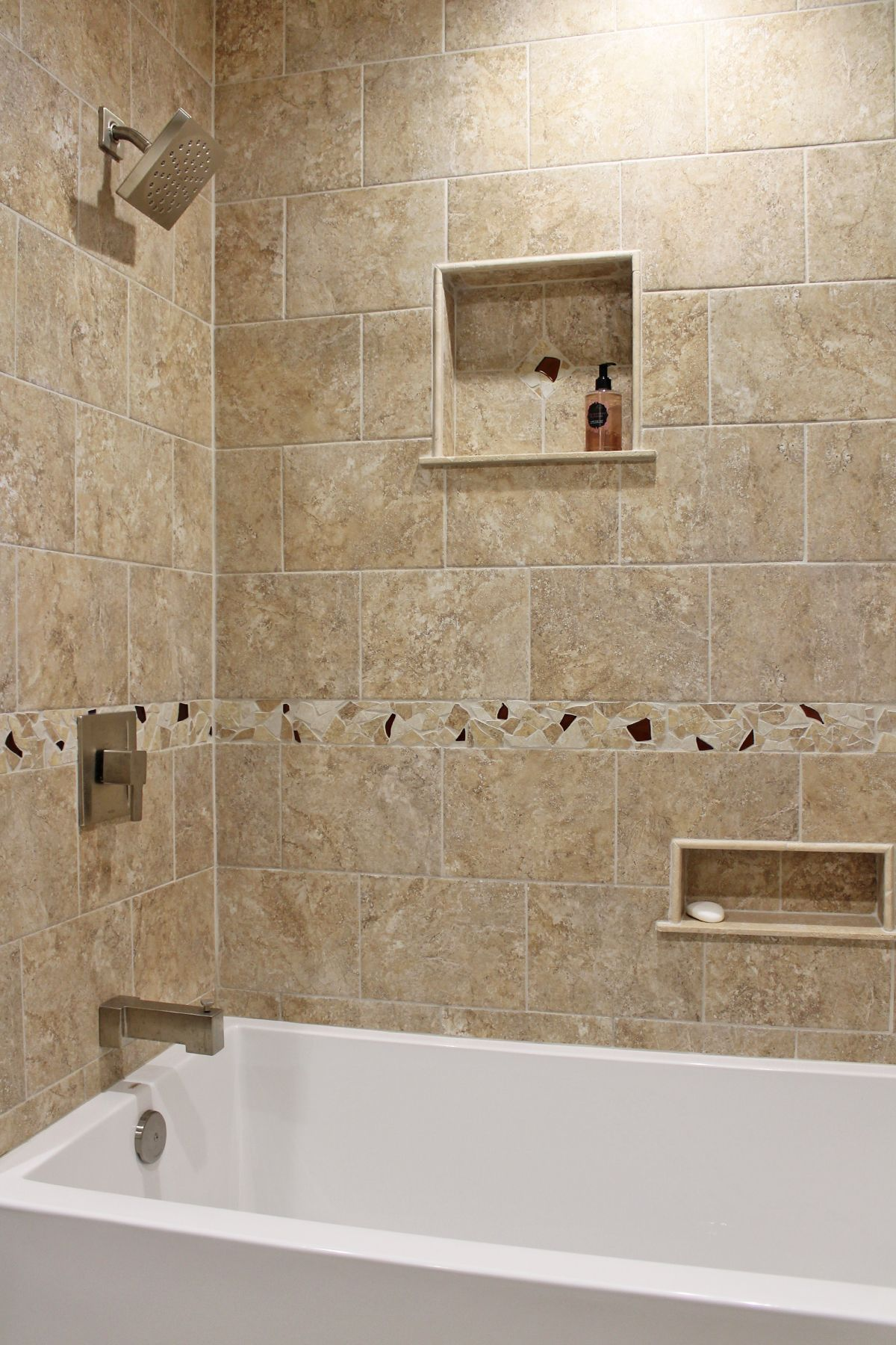 Contemporary Shower Design Beige Wall Tile with Natural Stone