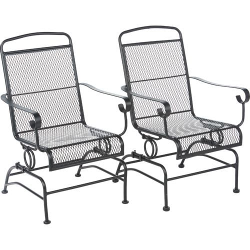 These Mosaic Steel Mesh Spring Rocker Set Are Built To Be Sturdy And Durable And Feature Spring Bases Patio Rocking Chairs Backyard Furniture Rocking Chair Set