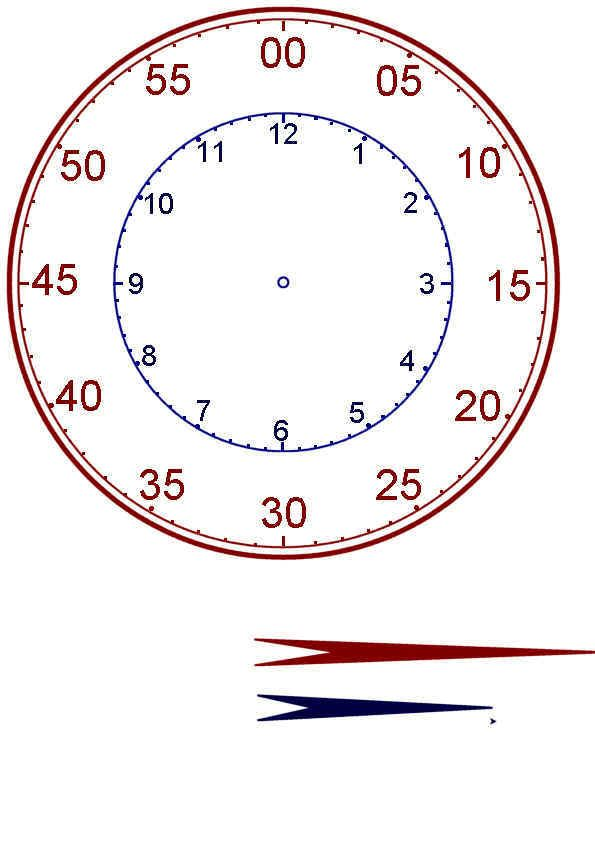 Another style clock face for teaching how to read a clock – Printable Clock Worksheets