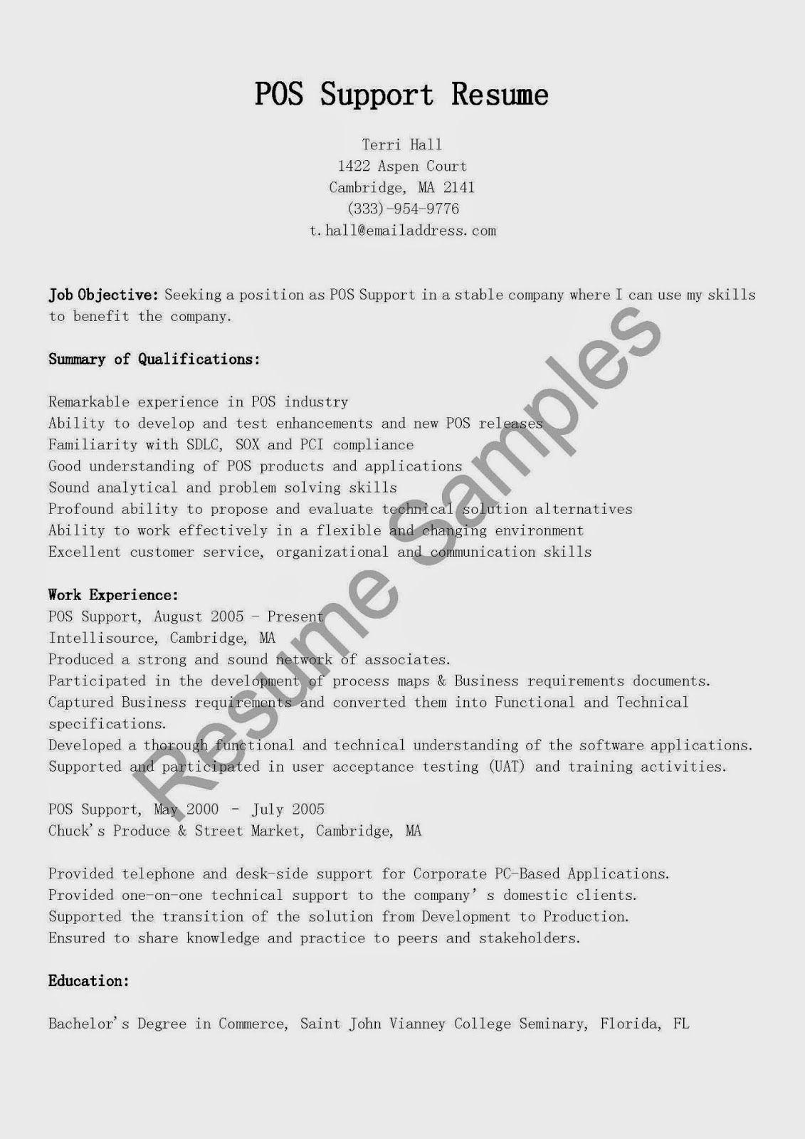 Pos Support Resume Sample Curriculum Vitae Resume Examples Resume