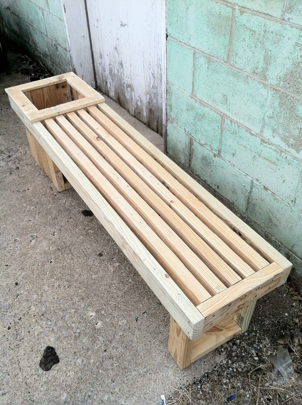 Pallet Wood Planter Box and bench. completely reclaimed