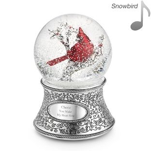 Personalized Cardinal Musical Water Globe , Add Your Message