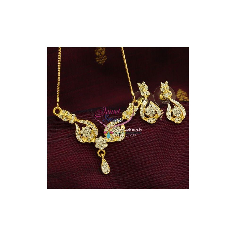 Pe9572 Delicate Two Tone Gold Design Pendant Earrings Fancy Chain Set In 2020 Pendant Earrings Pendant Set Gold Design