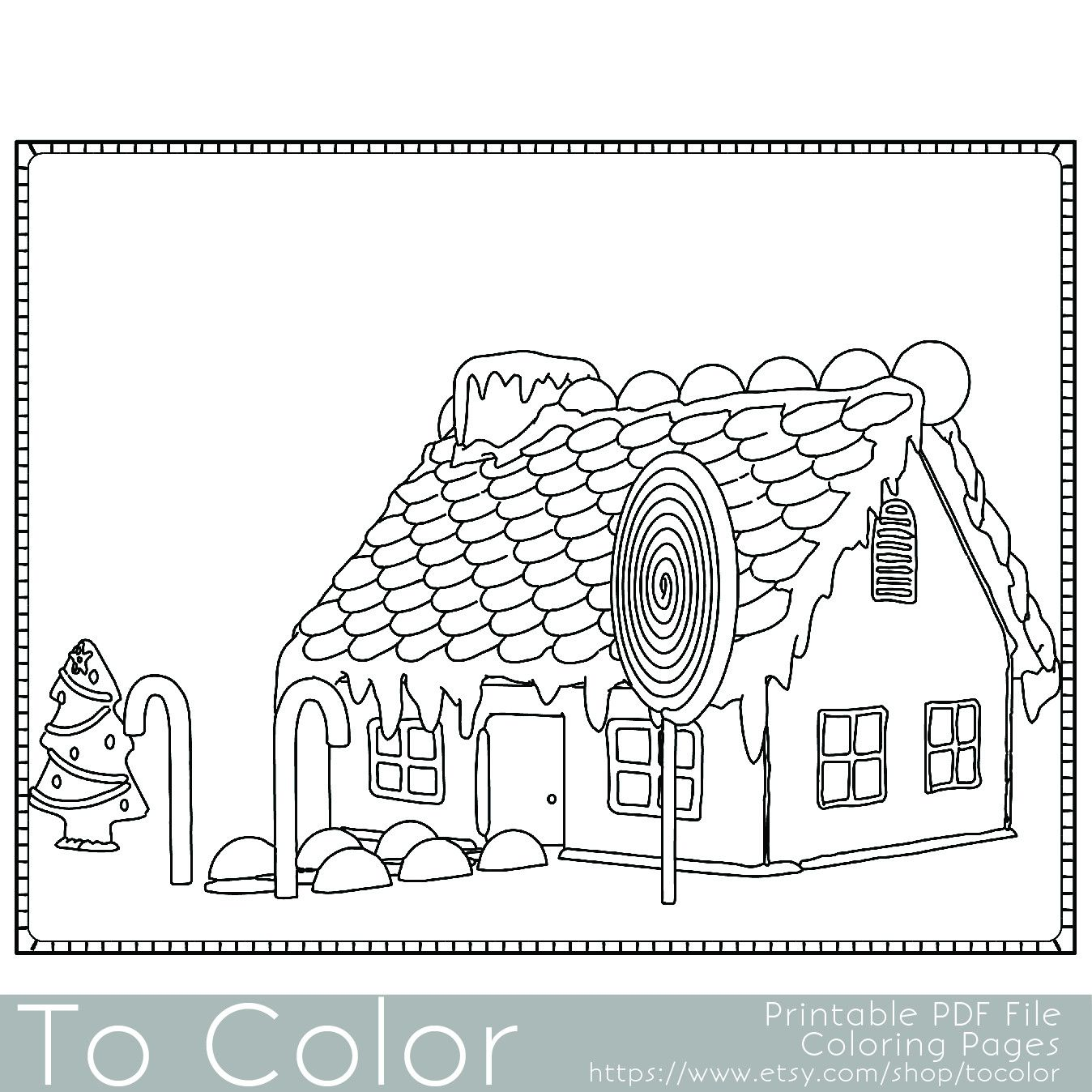 This Christmas gingerbread house coloring page for adults has a ...