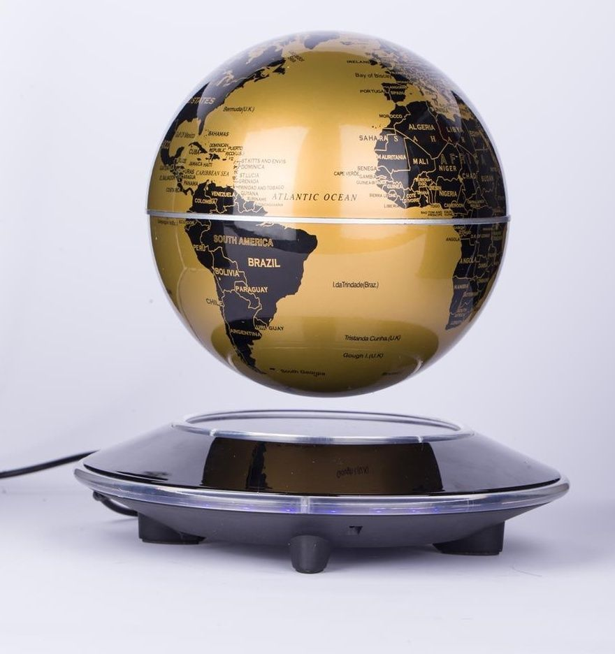 6 Inch Rotation Perpetual Motion Machine Gold Globe Maglev Office Desk Toys  Gift #Unbranded