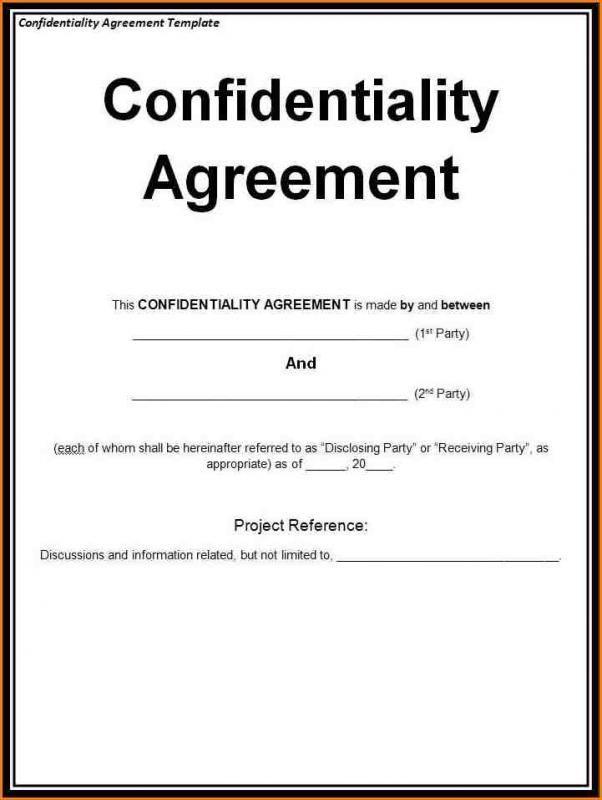Non Disclosure Agreement Sample template Pinterest Template