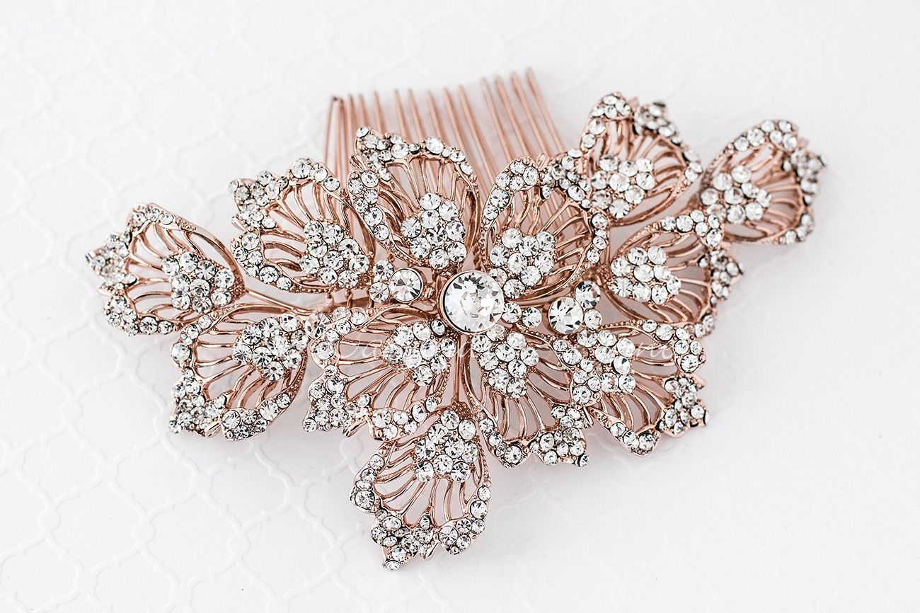 Large bridal hair comb in rose gold or silver hair combs bridal