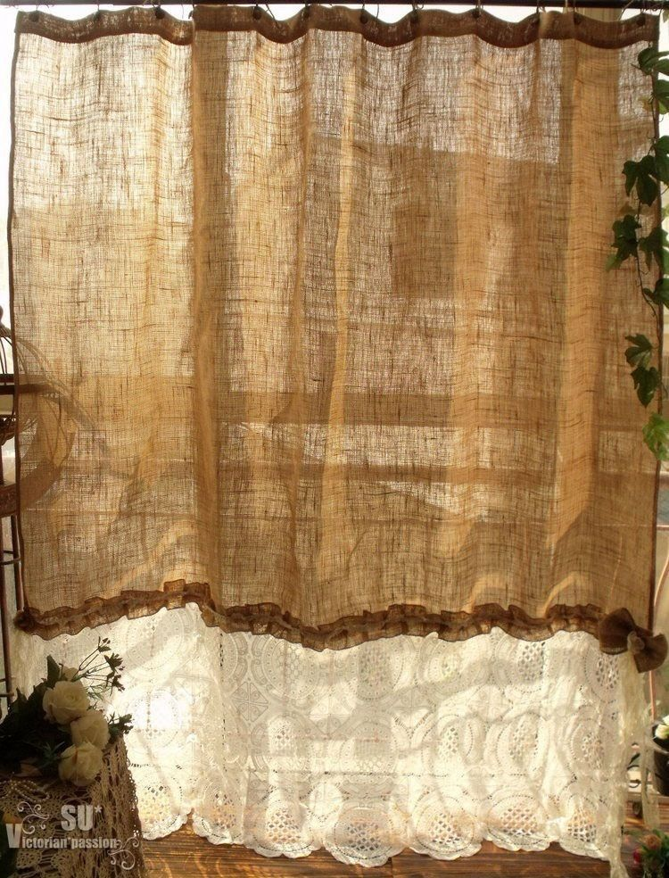 80 X72 Shabby Rustic Chic Burlap Shower Curtain Ivory Lace