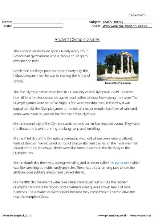 PrimaryLeap.co.uk - The Ancient Greek Olympics Worksheet | E.L.T ...