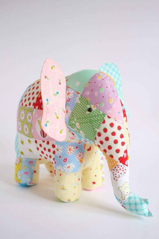 Trunk Show: elephant sewing pattern, patchwork elephant, elephant ...