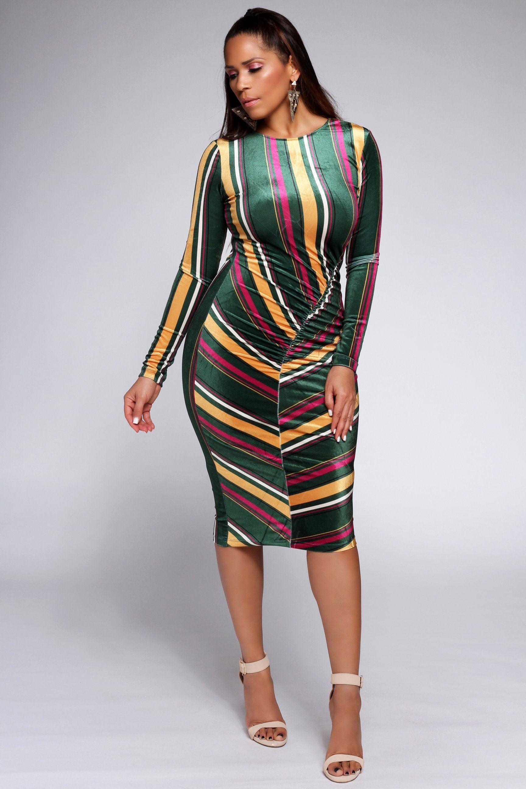 5fba987e977c1 Rosalie Striped Velour Bodycon Dress in 2019 | New Arrivals | My ...