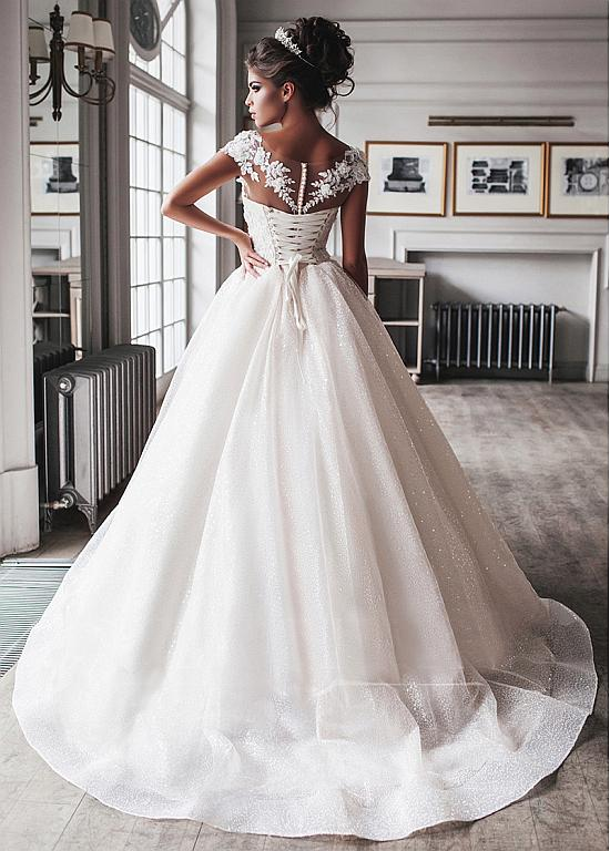 Photo of [266.80]  Gorgeous floor-length ball gown wedding dress with tulle and scoop neckline with handmade flowers and pearl applications – magbridal.com.cn