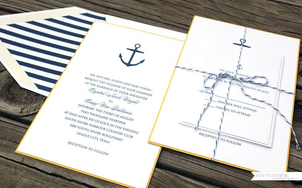 Checkerboard Wedding Invitations: Checkerboard Nautical Wedding Invitation