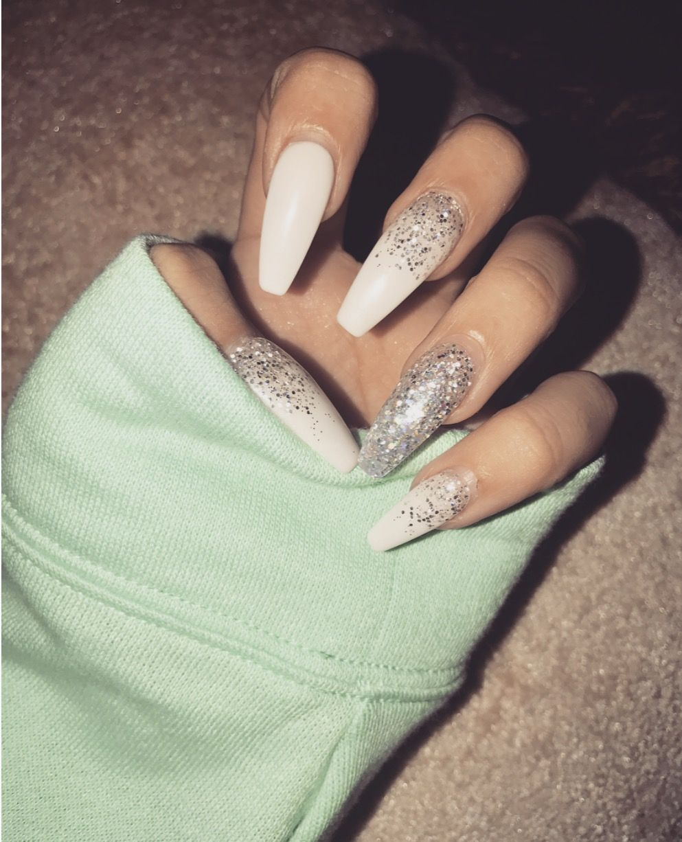 Acrylic coffin glitter custom nails! Perfect winter nails ...