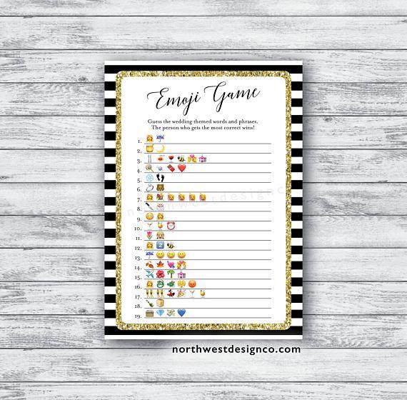 DIGITAL Emoji Pictionary Game Black and Gold Bridal Shower ...