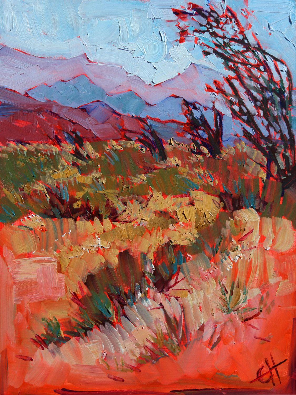 Ocotillo Desert California Landscape Original Oil Painting On Board Hanson 9x12 Via Etsy Art Painting Desert Art Art Painting Oil