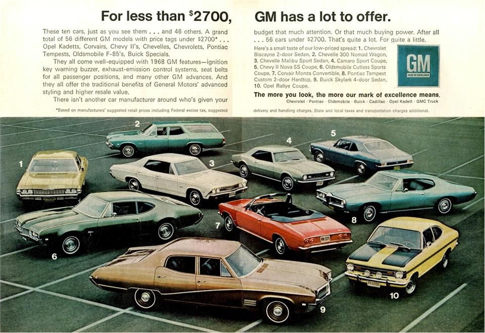 1968 General Motors Ad Automobile Advertising Car Ads Car Advertising