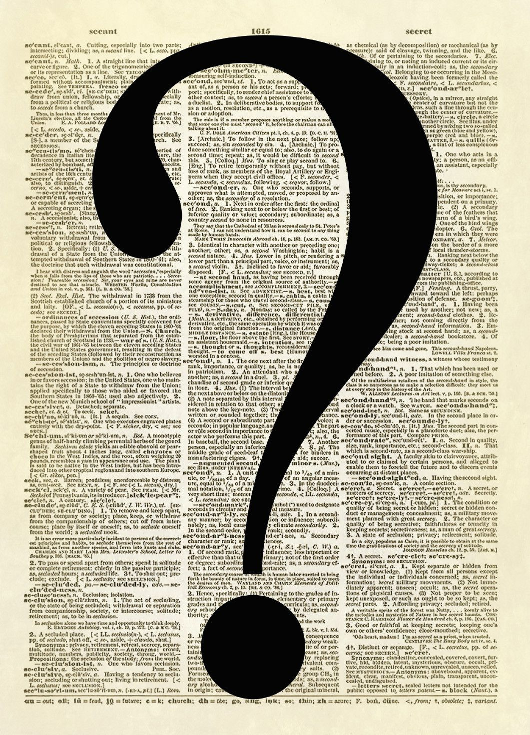Question Mark Symbol Dictionary Art Print | typographic elements