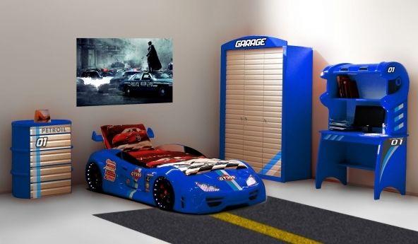 Das Blaue 4 Teilige Kinderzimmer Besteht Aus Einem Autobett Typ