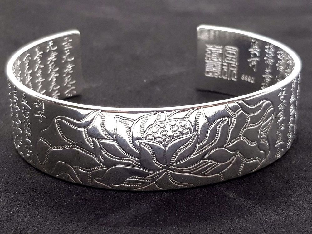 Bracelet Lotus Buddhist Scriptures Sterling Silver Plated Wide Open