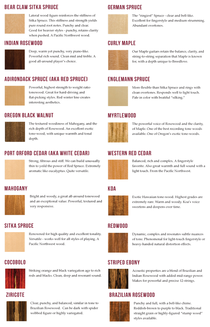 Guitar Woods Review Our Acoustic Guitar Wood Descriptions From Breedlove Guitar Building Luthier Guitar Music Theory Guitar