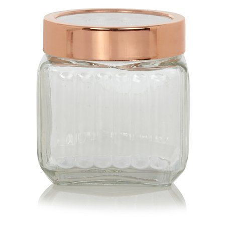 George Home Ribbed Glass Jar With Copper Lid Small Mum Glass