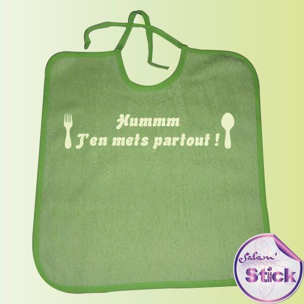 Bavoir j'en mets partout avec des couverts http://www.salam-stick.com/bavoir-personnalise/256-bavoir-personnalise-j-en-mets-partout.html