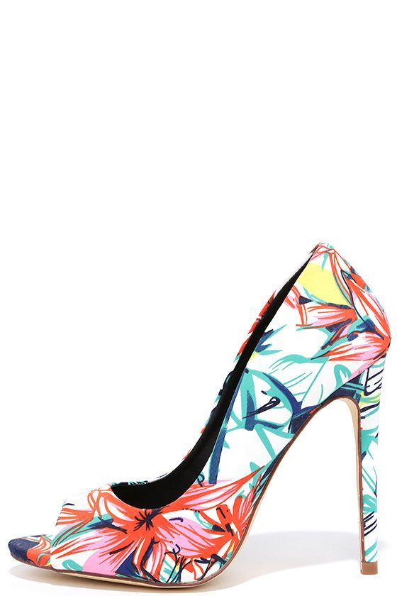 644dd1f9802a Once you get your groove on in the Jungle Boogie Floral Peep-Toe Pumps