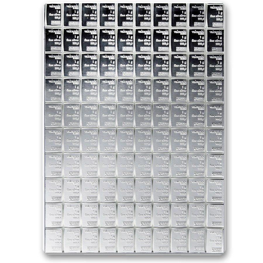 100x 1 Gram Silver Bar Valcambi Silver Combibar W Assay Valcambi Silver Bars Apmex Price Of Silver Per Gram Silver Bars Silver Bullion Silver