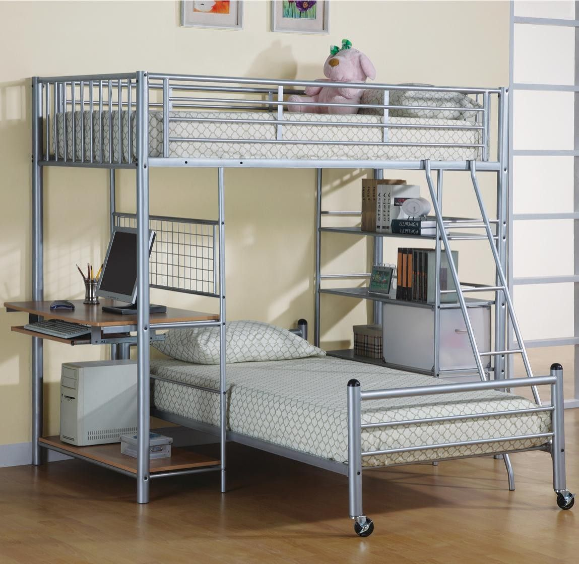 Best modern lightweight detachable silver brushed metal for Modern bunk bed with desk