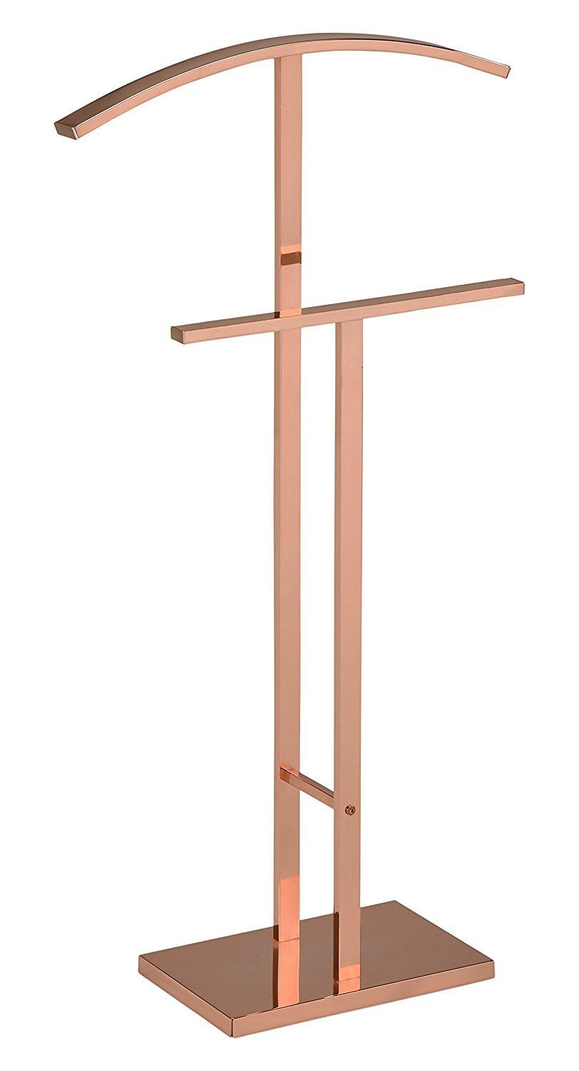 Rose Gold Metal Modern Suit & Cloth Valet Stand Organizer Rack is part of Gold Clothes Rack - Product Description Shipping Returns Rose Gold Metal Modern Suit & Cloth Valet Stand Organizer Rack  Provide a unique spot for clothes to hang with this rose gold and metal finished valet stand  Perfect for entryways or bedrooms, the metal polished design of this valet is sure to match your style all while providing a jacket hanger, hat rest, and slacks holder  Its modern style will be sure to perfect your room  Key Features Finish Rose Gold Materials Metal Dimensions 20 5 W x 8 D x 39 H Base Size 12 5 W x 8 D Bottom Rack Width 16  Rack Height From Floor Top 39   Bottom 29 5  Assembly Required Free Shipping! Click here to view our shipping policies  Customers may return eligible items for a refund within 30 days of the delivery date as long as the item is in its original condition and packaging  Click here to view our company policies
