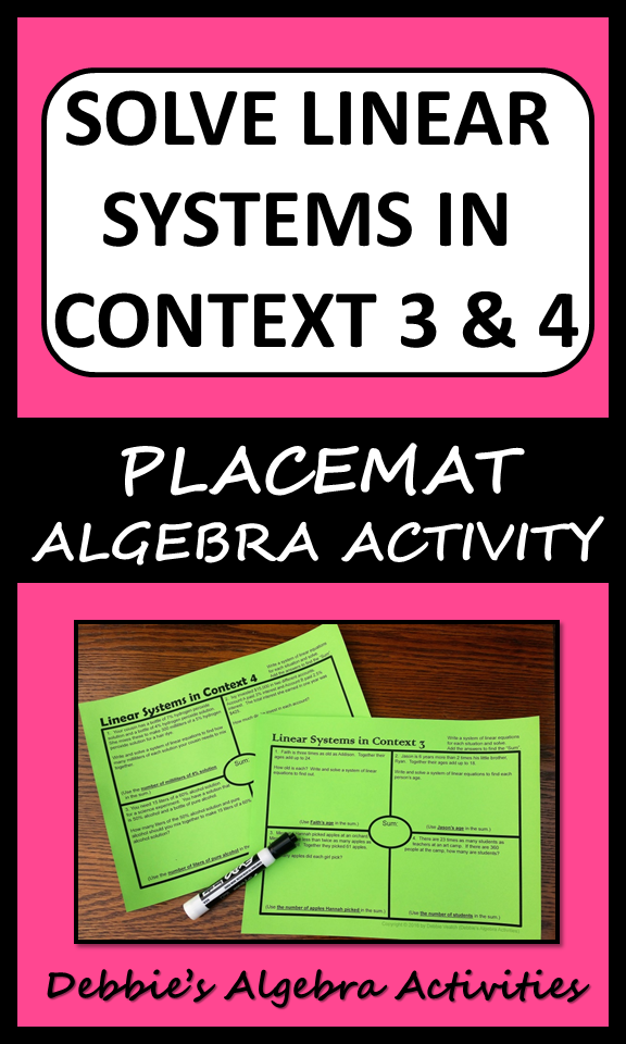 Solve Linear Systems In Context 3 & 4 (age & mixture/percent ...