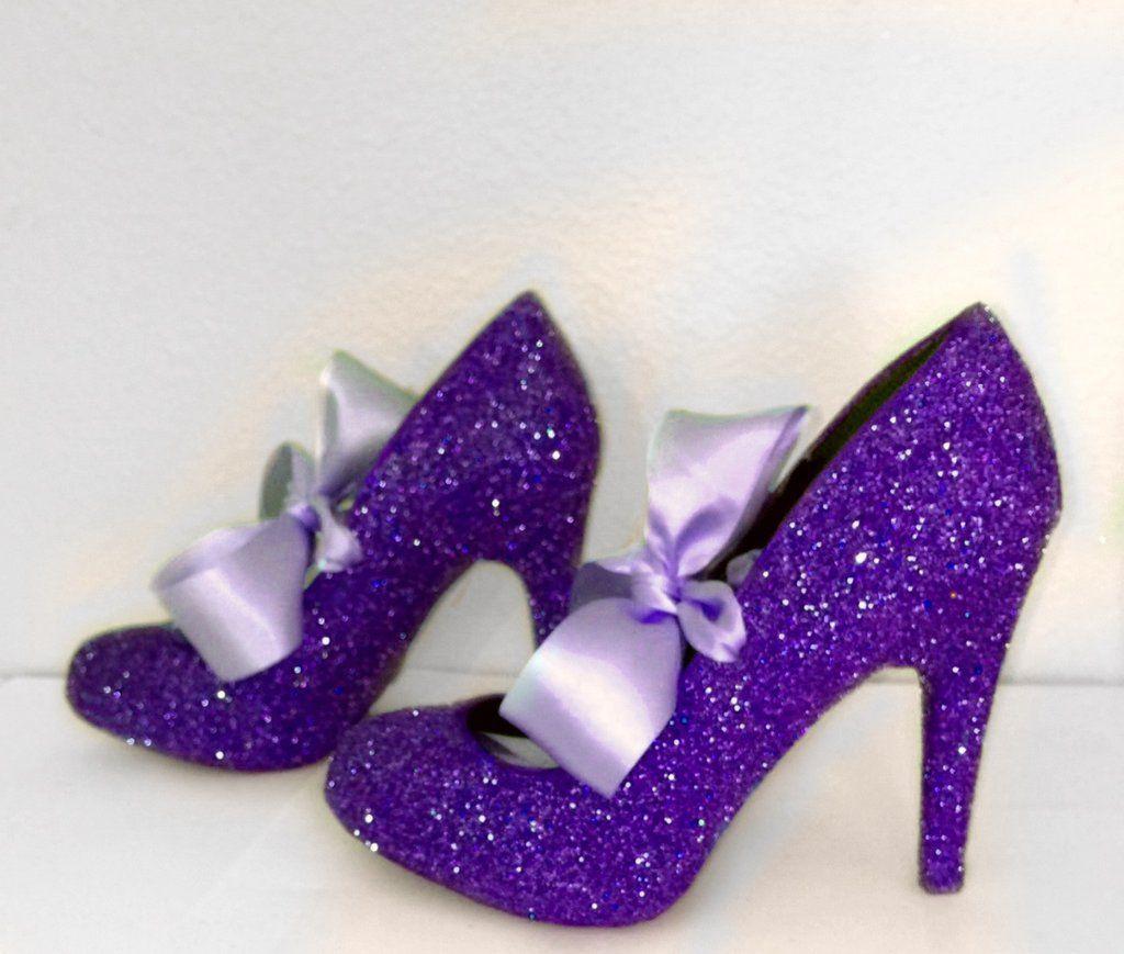 Women S Royal Purple Glitter High Low Heels Wedding Bride Pumps