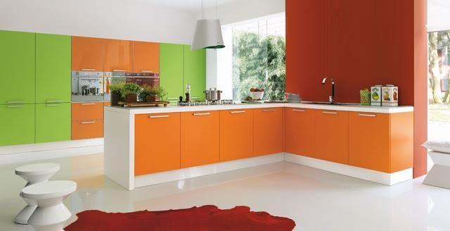 Cocina En Naranja Y Verde Decoracion De Cocina Colorida