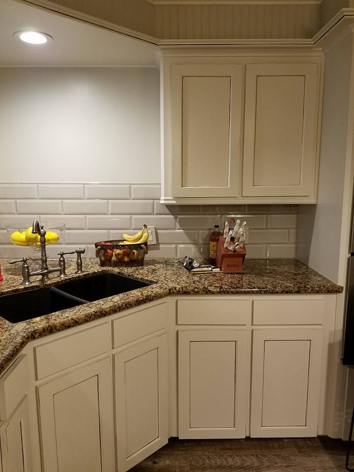 Kitchen Cabinets Baltic Brown Counter Glazed Cream Cabinets